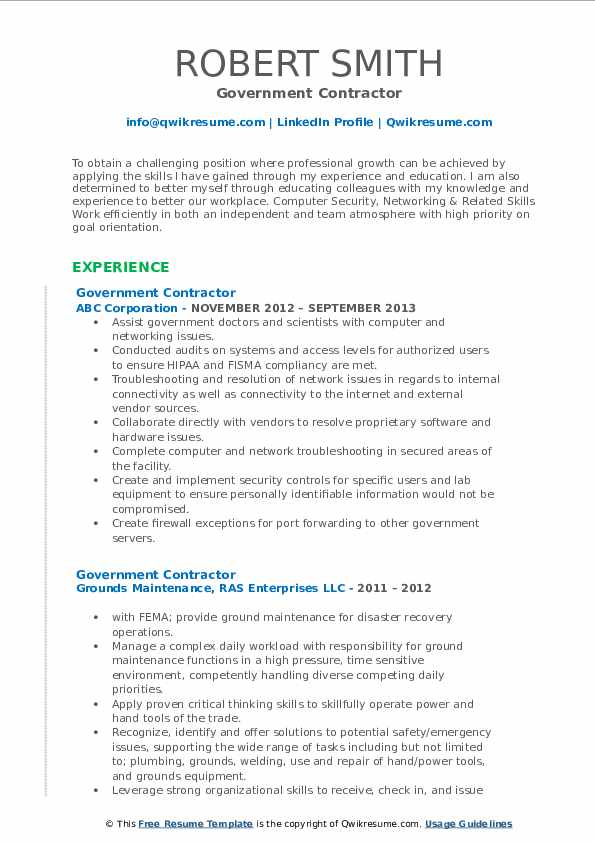 government contractor resume samples qwikresume free federal templates pdf paratransit Resume Free Federal Government Resume Templates