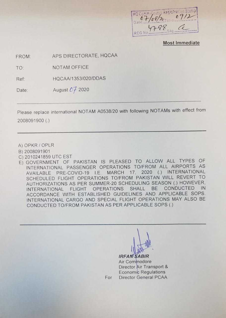 govt allows resumption of international flight operations at all airports from august Resume Flight Operations Resume