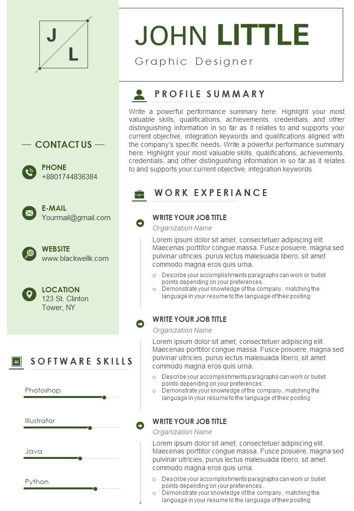 graphic designer resume sample with software skills template presentation of background Resume Graphic Designer Skills Resume