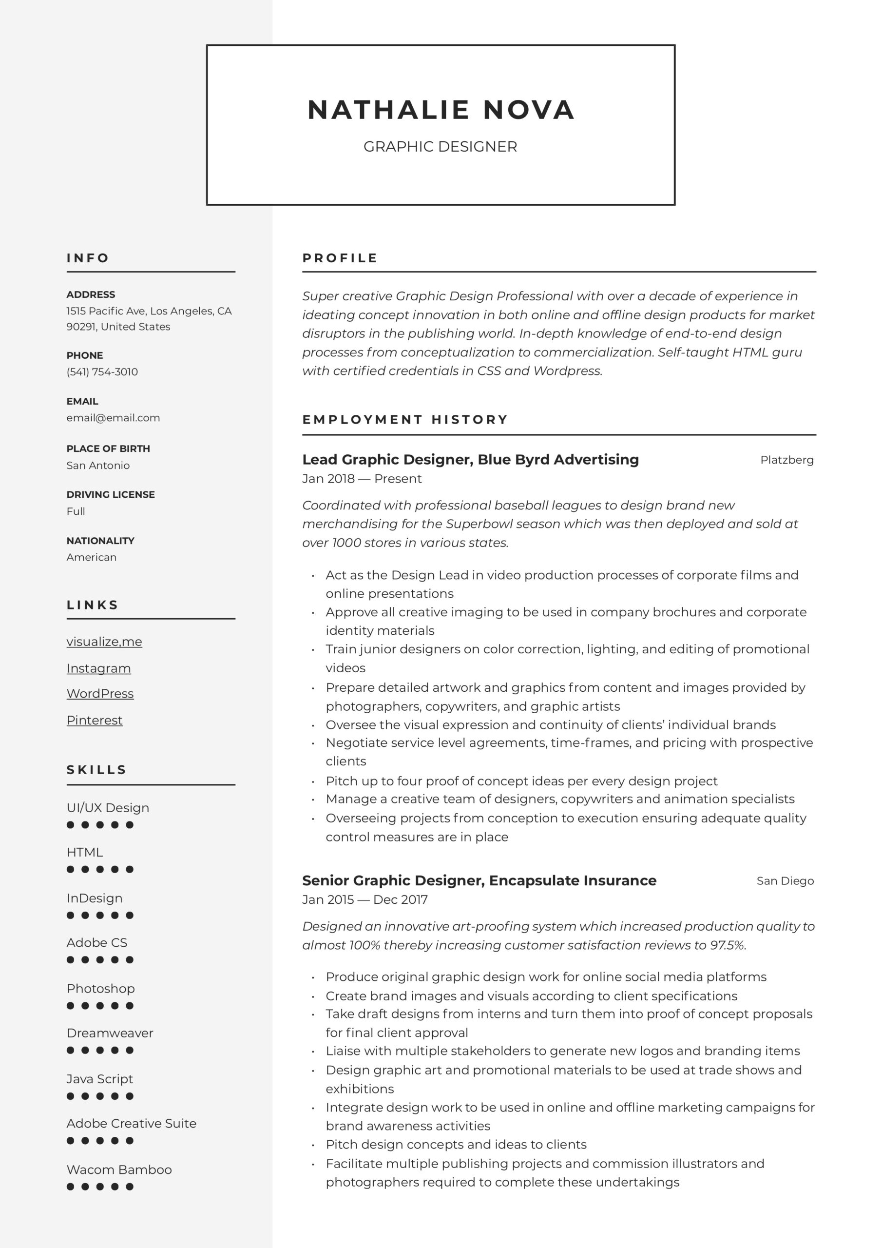 graphic designer resume writing guide examples visual sample impressive with cover letter Resume Visual Designer Resume Sample