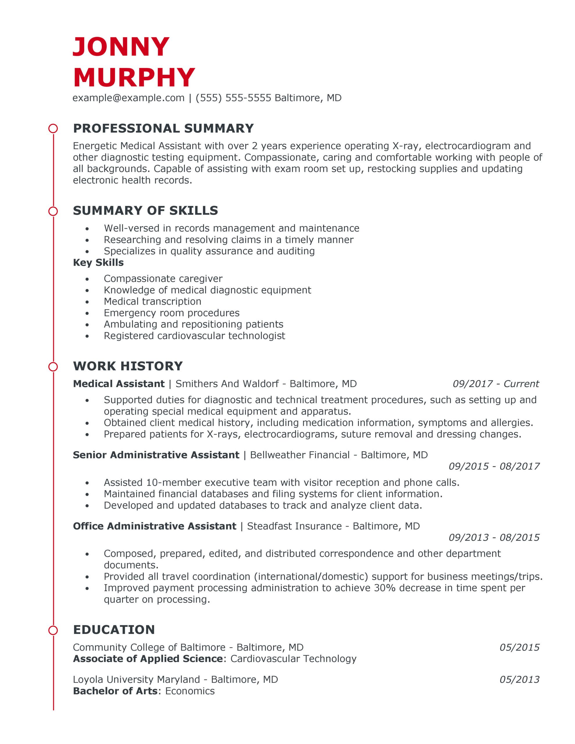great healthcare support resume examples for myperfectresume medical field template Resume Medical Field Resume Template