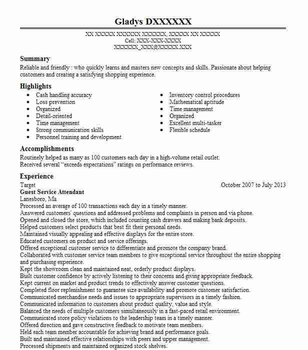 guest service attendant resume example target lakewood finance internship sample office Resume Service Attendant Resume