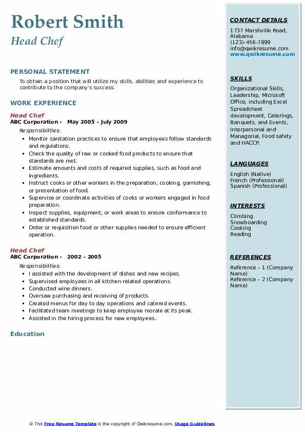 head chef resume samples qwikresume for pdf eyewear consultant format pharmacist freshers Resume Resume For Chef Cook