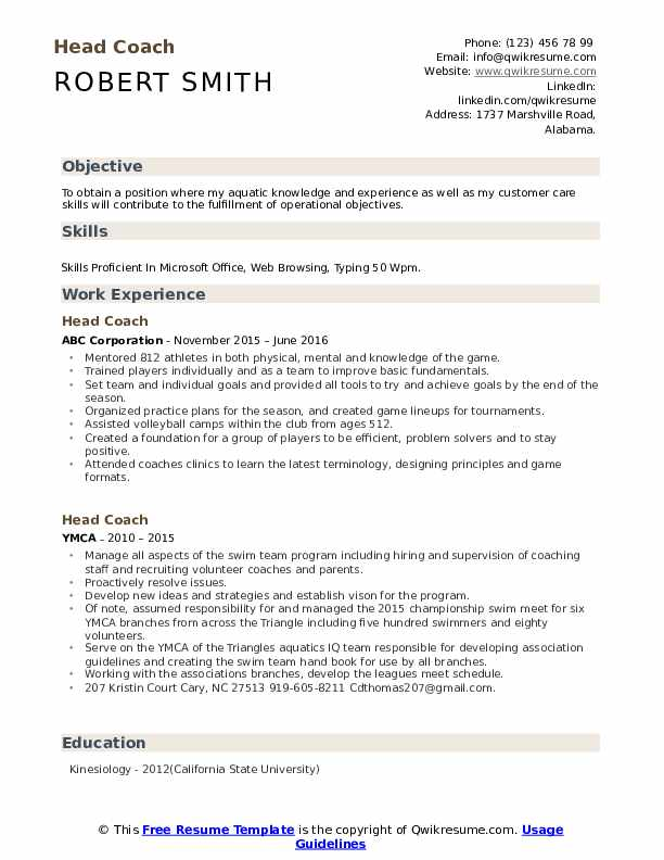 head coach resume samples qwikresume sports template pdf google drive support prior Resume Sports Coach Resume Template