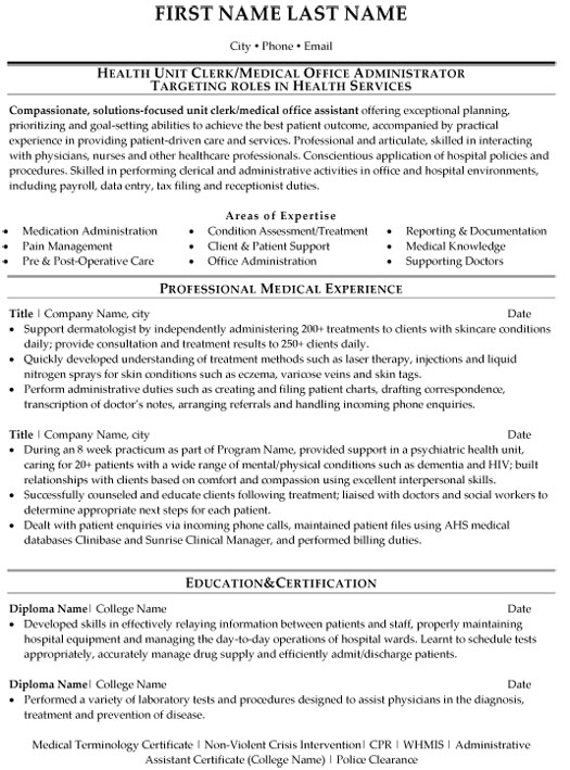 health unit clerk resume sample template records management med medical office Resume Records Management Clerk Resume Sample