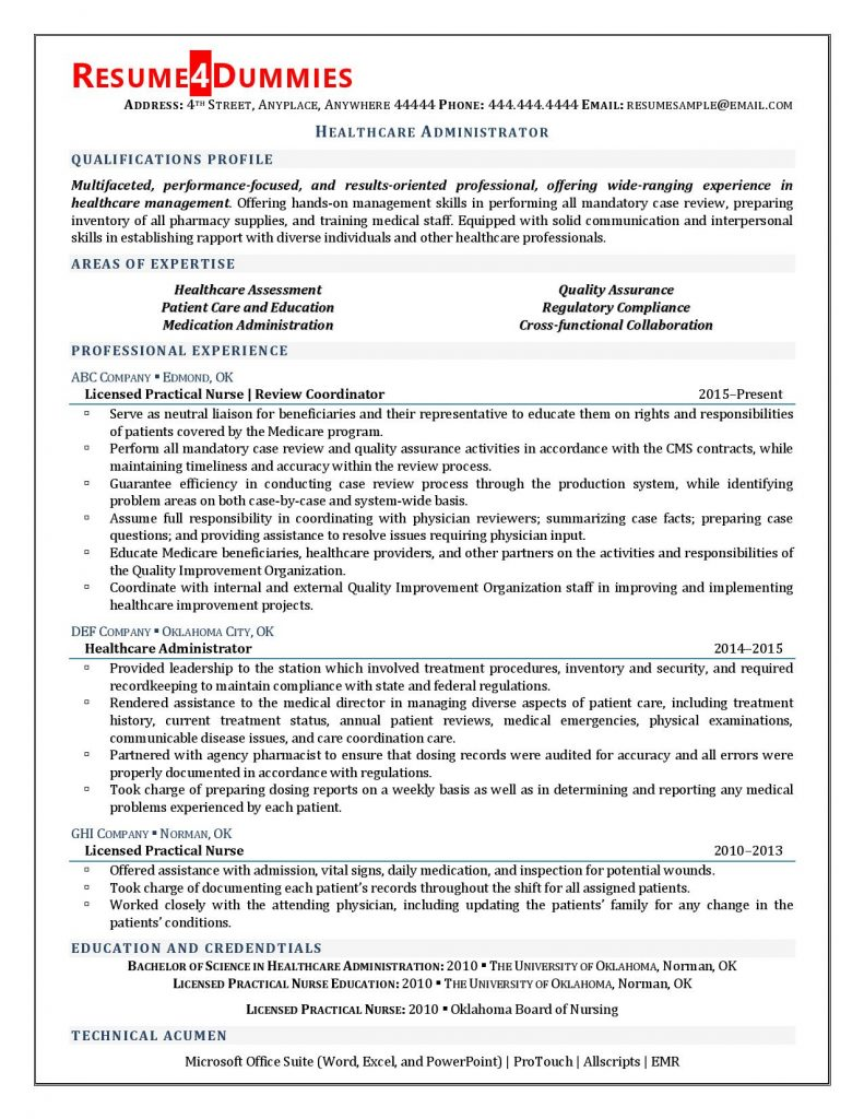 healthcare administrator resume examples sample career objective for administration Resume Career Objective For Healthcare Administration Resume