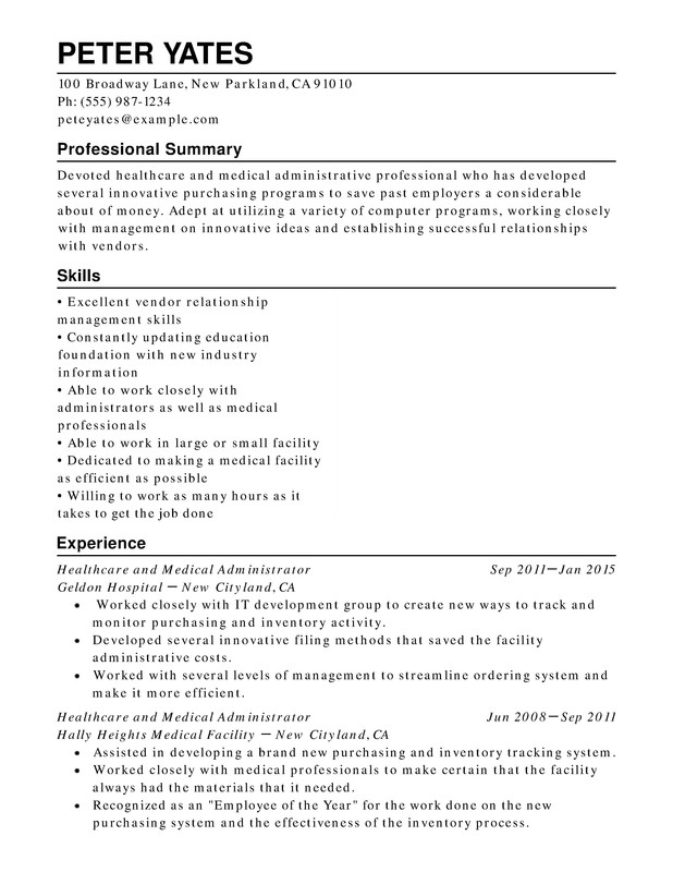 healthcare medical chronological resume samples examples format templates help Resume Healthcare Professional Resume Summary