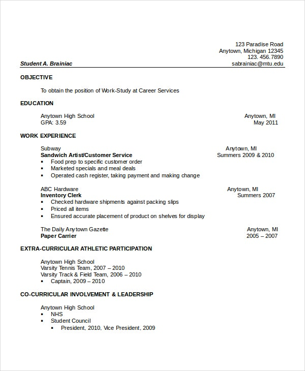 high school resume templates examples samples format free premium hobbies extracurricular Resume Hobbies Extracurricular Activities Resume