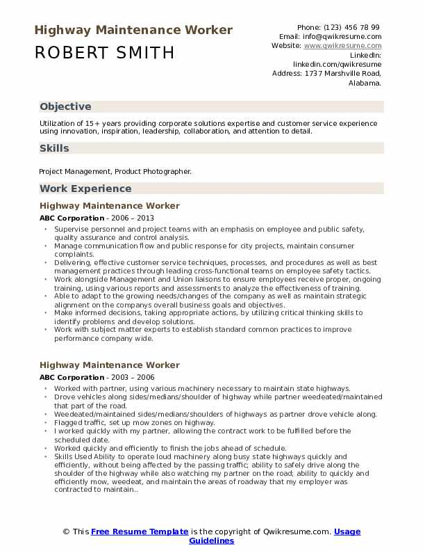 highway maintenance worker resume samples qwikresume examples for jobs pdf whats cover Resume Resume Examples For Maintenance Jobs