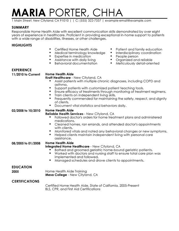 home health aide resume examples free to try today myperfectresume objective healthcare Resume Porter Resume Objective