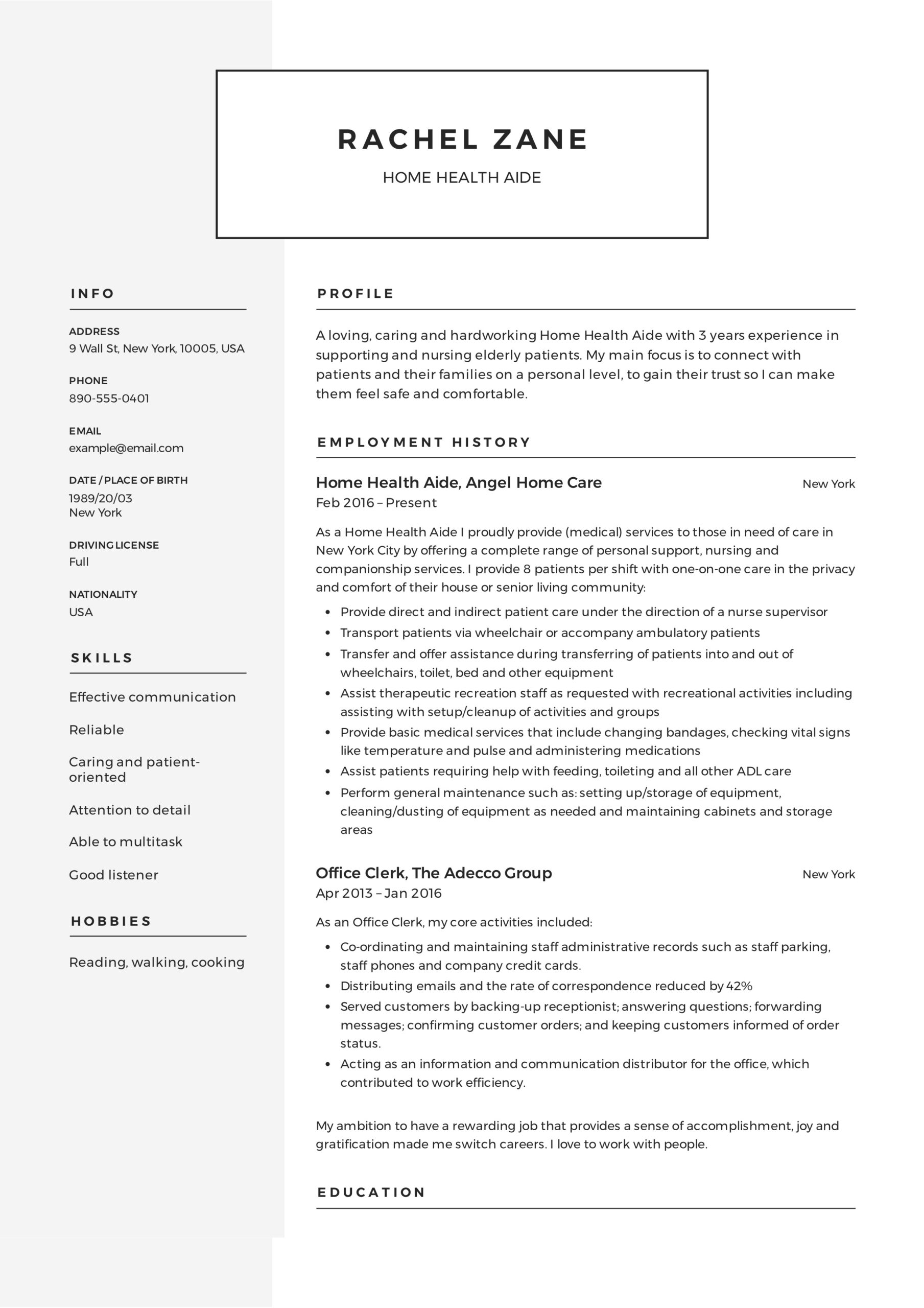 home health aide resume sample writing guide samples pdf job description for healt study Resume Home Health Aide Job Description For Resume