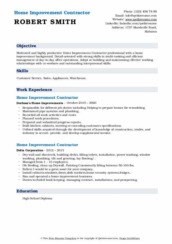 home improvement contractor resume samples qwikresume pdf blt quality checker research Resume Home Improvement Resume