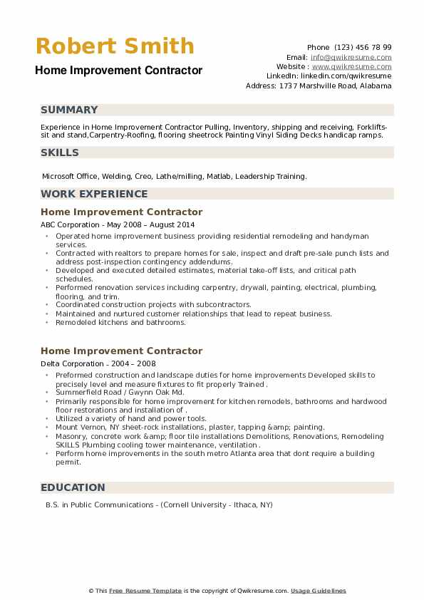 home improvement contractor resume samples qwikresume pdf cna description duties oracle Resume Home Improvement Resume