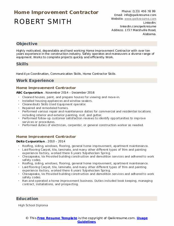 home improvement contractor resume samples qwikresume pdf electronic assembler examples Resume Home Improvement Resume