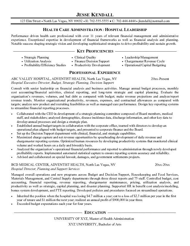 hospital executive directorcareer resume template career examples sample cover letter Resume Healthcare Revenue Cycle Resume Examples