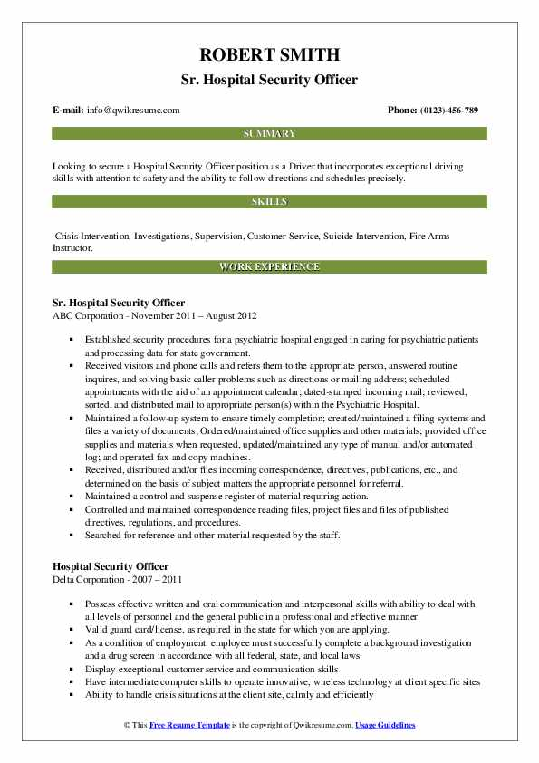 hospital security officer resume samples qwikresume position pdf free graphic design Resume Security Position Resume