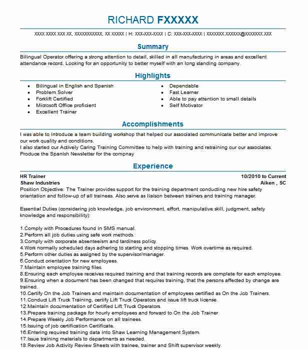 hr trainer resume example resumes livecareer objective for fortnite techno functional Resume Resume Objective For Trainer