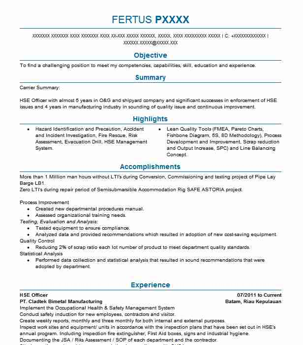hse officer resume example resumes livecareer safety job description executive assistant Resume Safety Officer Job Description Resume