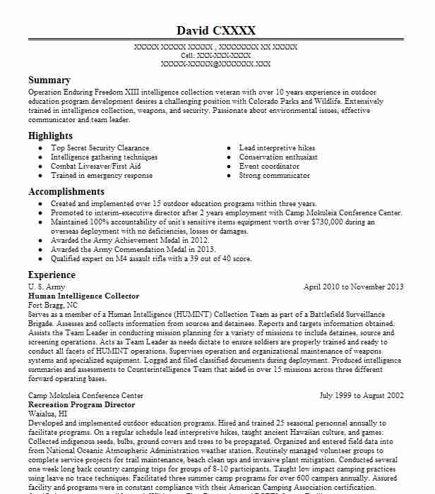 human intelligence collector humint resume example army fort cartel film complet director Resume Human Intelligence Collector Resume