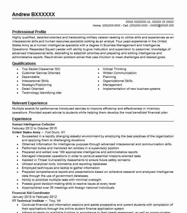 human intelligence collector resume example army thornton cartel film complet driver Resume Human Intelligence Collector Resume