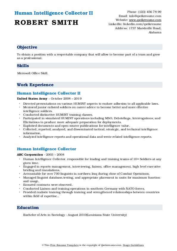 human intelligence collector resume samples qwikresume pdf ats tracking tips for making Resume Human Intelligence Collector Resume