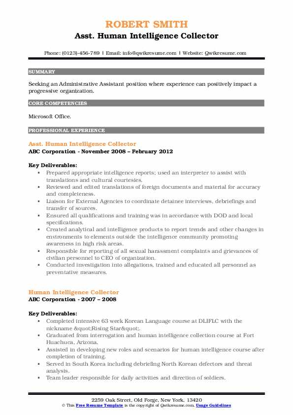 human intelligence collector resume samples qwikresume pdf best objective for show some Resume Human Intelligence Collector Resume