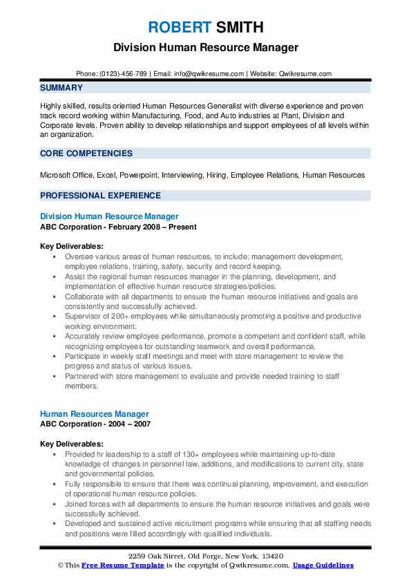 human resource manager resume samples qwikresume resources summary pdf management example Resume Human Resources Manager Resume Summary