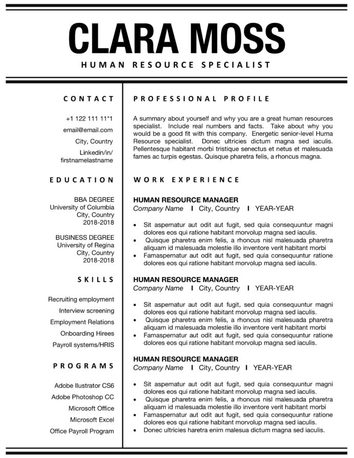 human resource resume template addictionary resources unusual inspirations example Resume Human Resources Resume Template