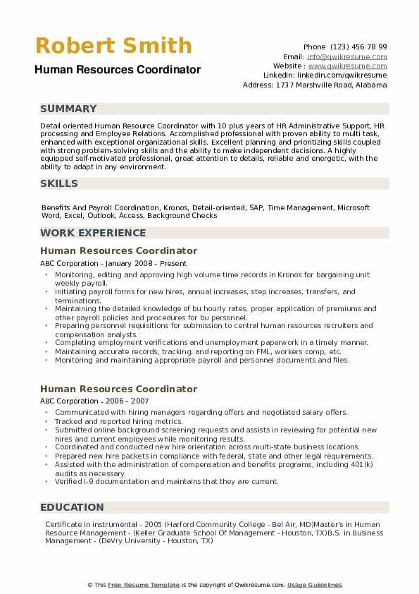 human resources coordinator resume samples qwikresume skills pdf for non graduate project Resume Human Resources Resume Skills