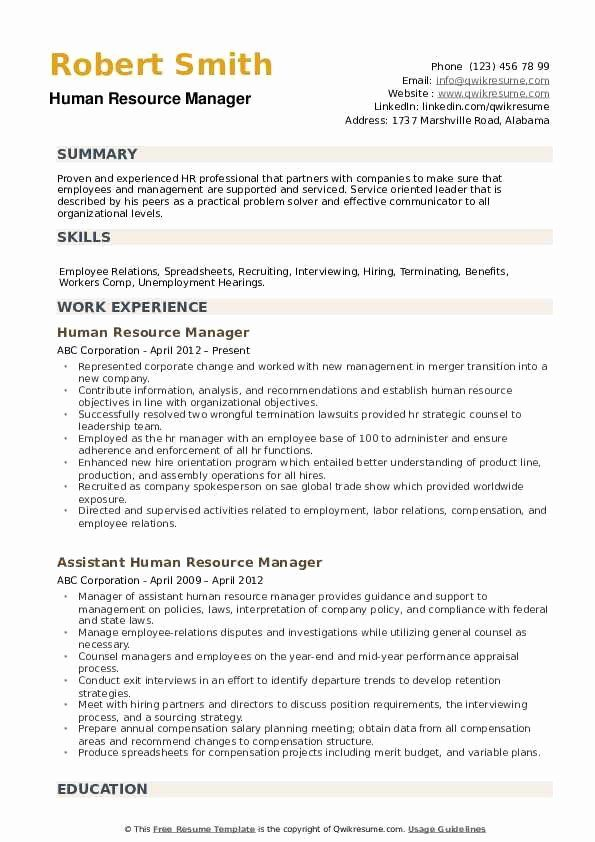 human resources manager resume samples inspirational with hr format good examples job Resume Human Resources Manager Resume Template