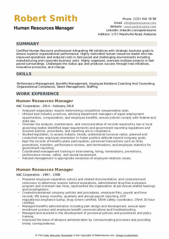 human resources manager resume samples qwikresume template pdf money exchange cashier Resume Human Resources Manager Resume Template