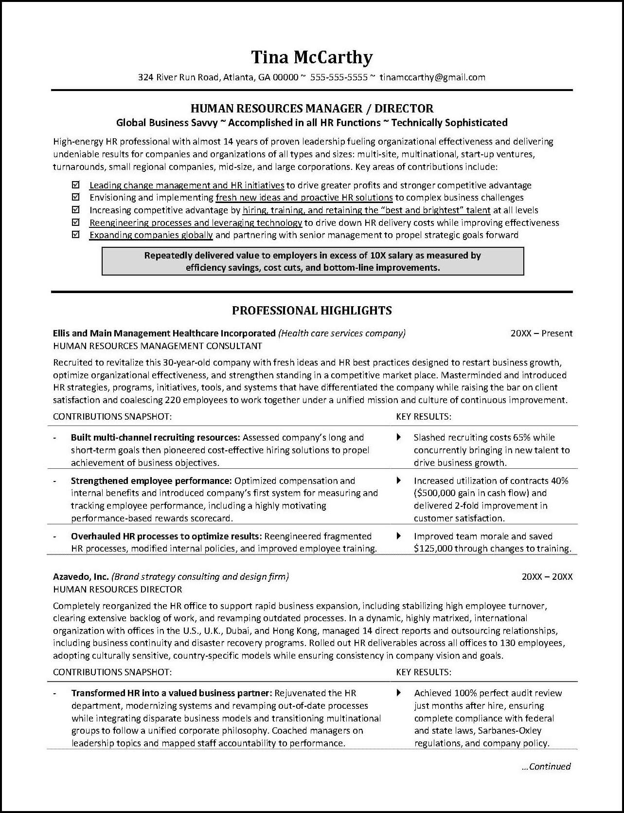 human resources resume example distinctive career services template food experience Resume Human Resources Resume Template