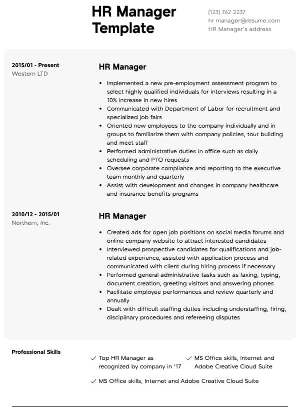 human resources resumes resume samples all experience levels skills general hr manager Resume Human Resources Resume Skills