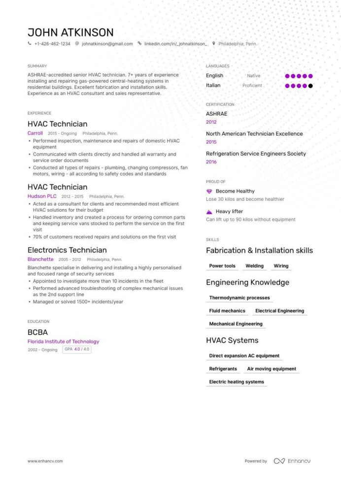hvac resume samples and writing guide for enhancv templates free blank form manufacturing Resume Hvac Resume Templates Free