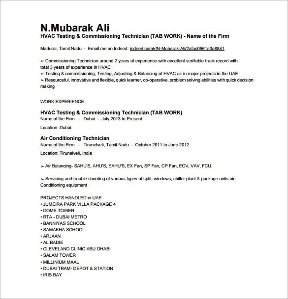 hvac resume template free word excel pdf format premium templates for air conditioning Resume Resume For Air Conditioning Technician