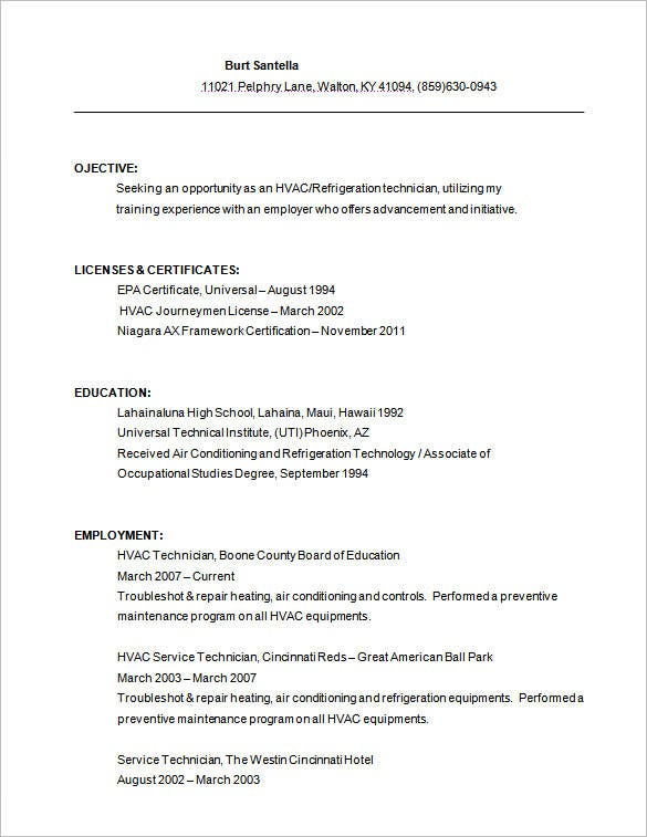 hvac resume templates pdf free premium for air conditioning technician service download1 Resume Resume For Air Conditioning Technician