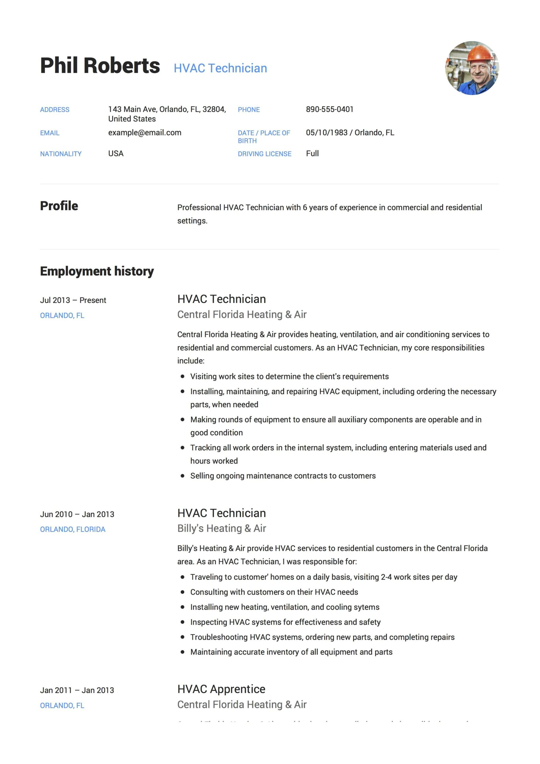 hvac technician resume example guide examples student templates free and selection Resume Hvac Resume Templates Free