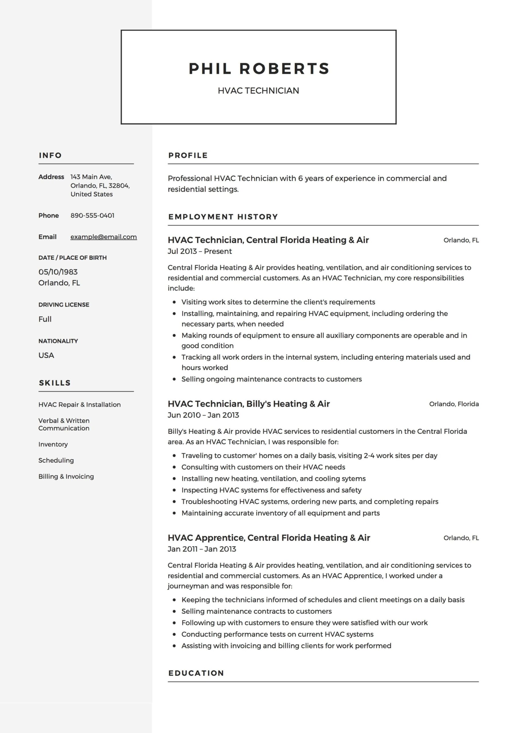 hvac technician resume guide templates pdf word for air conditioning example police cover Resume Resume For Air Conditioning Technician