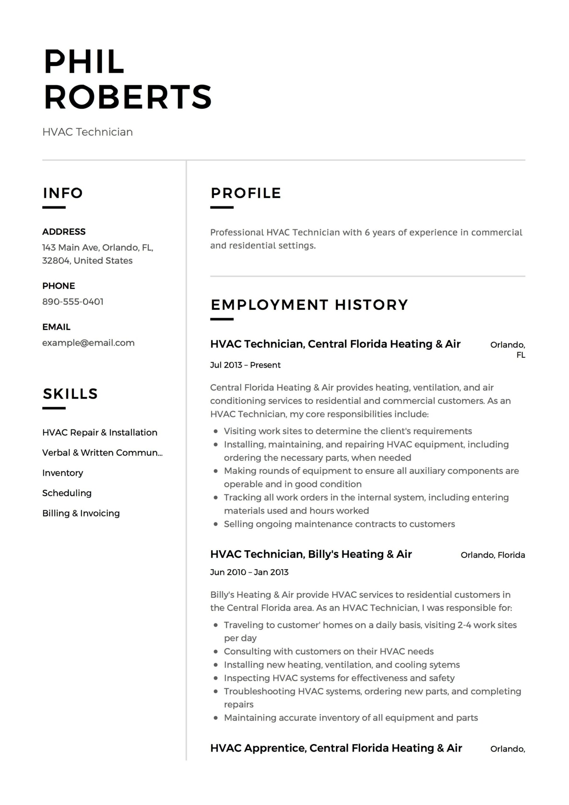hvac technician resume guide templates pdf word for air conditioning experiences example Resume Resume For Air Conditioning Technician