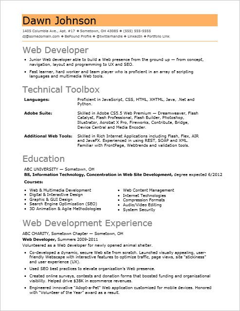 if your web sites sizzle but resume fizzles check out this sample for an entry level Resume Entry Level Web Developer Resume
