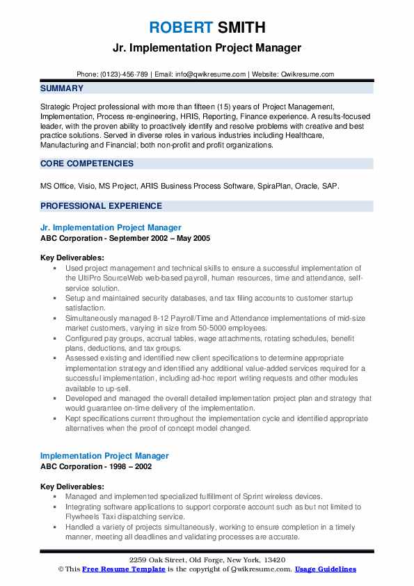implementation project manager resume samples qwikresume best template for pdf hacer Resume Best Resume Template For Project Manager