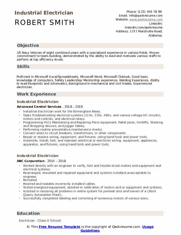 industrial electrician resume samples qwikresume duties for pdf format images freshers Resume Electrician Duties For Resume