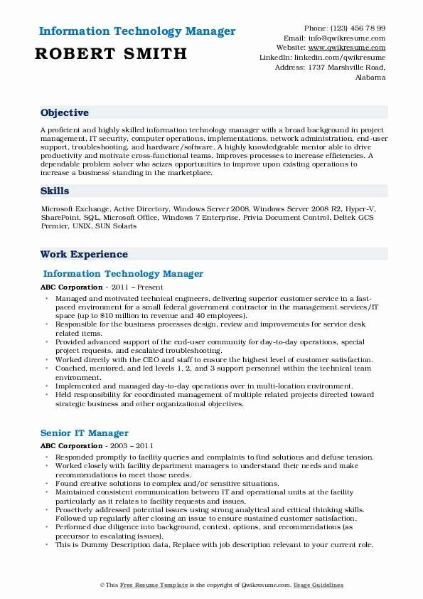 information technology manager resume examples luxury it samples job massage therapist Resume Information Technology Resume Examples 2020
