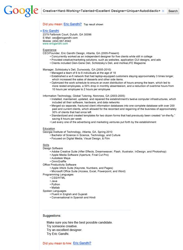 insanely cool resumes that landed interviews at google and other top jobs creative resume Resume Creative Resume Profile