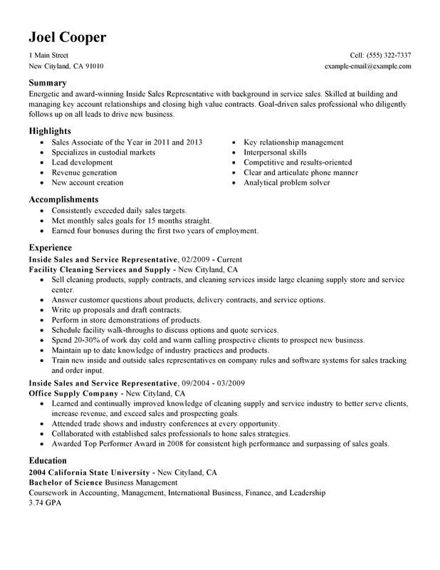 inside resume examples free to try today myperfectresume representative maintenance and Resume Inside Sales Representative Resume