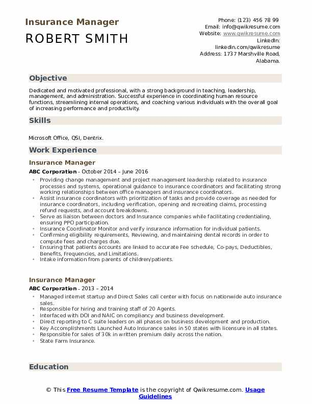 insurance manager resume samples qwikresume examples for industry pdf agile software Resume Resume Examples For Insurance Industry