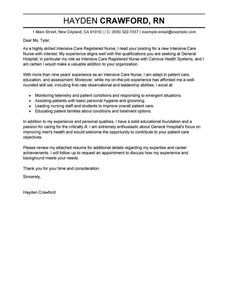 intensive care nurse cover letter example tips nursing resume examples clintensive Resume Nursing Resume Cover Letter Examples