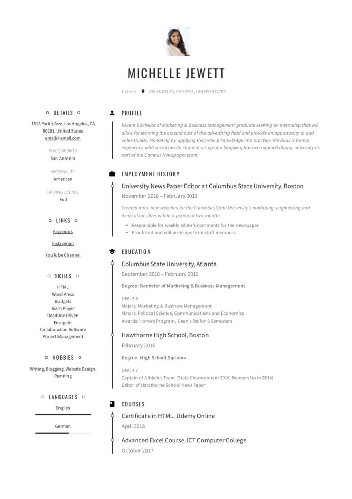 resume for internship template guide examples builder student receptionist position Resume Resume Builder For Internship