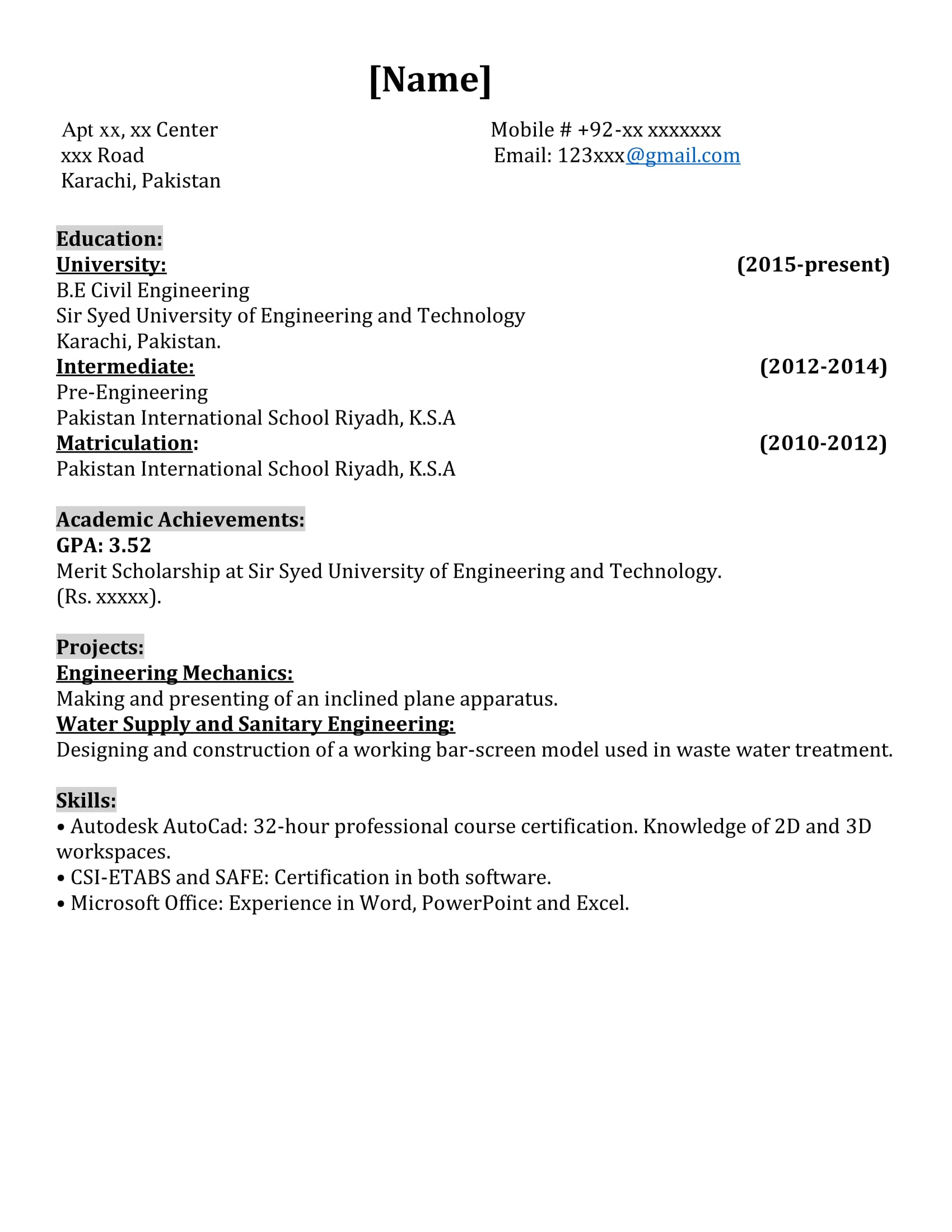 internship resume 1st draft kindly critique civil engineering student in starting 7th Resume Engineering Internship Resume