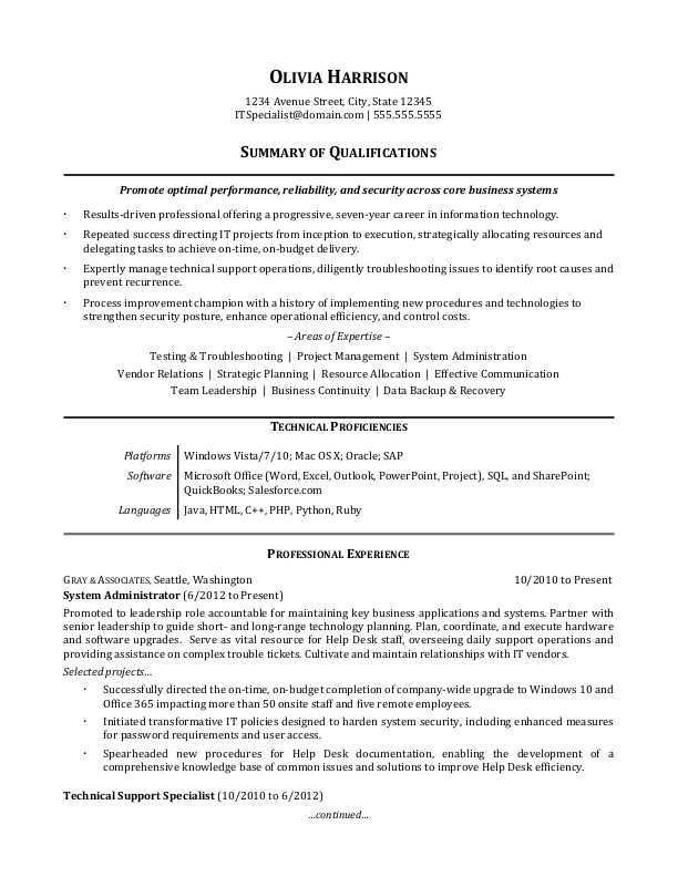 it professional resume sample monster job summary examples generalist en ingles gratis Resume Job Resume Summary Examples